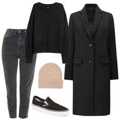 Chloe Moretz Outfit: gray straight leg jeans, black sweater, black long coat, blush colored beanie hat, and black slip on Vans sneakers