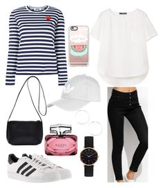 """""""Fashion outfit 🖤"""" by annadamr on Polyvore featuring Play Comme des Garçons, MANGO, adidas, Topshop, Casetify, Gucci and Abbott Lyon"""
