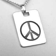 Peace Symbol Pendant (EP-0003). Engraved Peace Symbol. Engraved from a silver ingot and the background has a dark grey patina. ~ 24 x 18mm. http://www.chain-me-up.com.au/