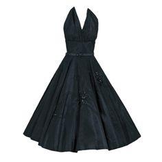 1950's Vintage Black Taffeta Shelf-Bust Halter Beaded Sequin Bombshell Rockabilly Party Dress