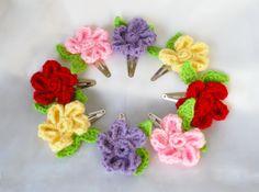 Daisy Flower Hair Clip  Crochet Hair by theMeticulousWhim on Etsy