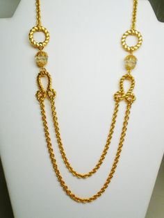 Vintage Necklace Long Chain Twisted Gold Tone Metal by BagsnBling, $24.50