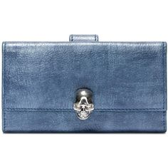 Alexander McQueen Denim Continental Wallet ($645) ❤ liked on Polyvore featuring bags, wallets, denim, coin purse wallets, skull wallet, coin purse, blue wallet and change purse wallet