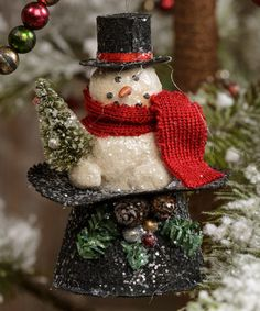 Love this Snowman Sitting in a Hat Ornament - Set of Two by Ragon House on #zulily! #zulilyfinds