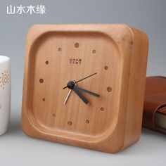 Creative Wood Square Shape Clock with alarm