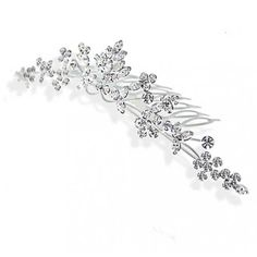 Bling Jewelry Wildflower Hair Comb (44 CAD) ❤ liked on Polyvore featuring jewelry, brooches, accessories, hair accessories, tiara, clear, hair-side-combs, rhinestone broach, bridal brooch and bridal jewellery