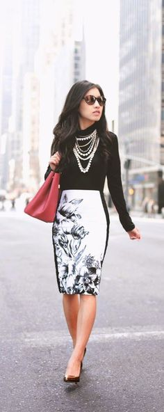 Floral Print Pencil Skirt with Black Top and Gold ...