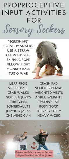 If your ADHD kid is a sensory seeker, these will help! Proprioceptive Input - Daily Activities To Calm Sensory Seekers · Raising An Extraordinary Person Proprioceptive Activities, Proprioceptive Input, Sensory Diet, Sensory Issues, Sensory Play, Daily Activities, Toddler Activities, Physical Activities, Occupational Therapy Activities