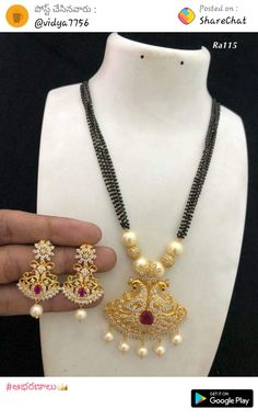 Fancy Jewellery, Gold Jewellery Design, Gold Jewelry, Beaded Jewelry Designs, Necklace Designs, Necklace Set, Beaded Necklace, Gold Necklace, Gold Pendant