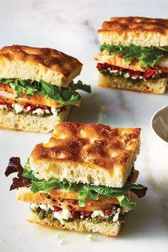 Chicken Recipes for Kids — Chicken Pesto Focaccia Sandwiches Chicken Recipes For Kids, Leftover Chicken Recipes, Picknick Snacks, No Heat Lunch, Kids Meals, Easy Meals, Cold Sandwiches, Gourmet Sandwiches, Healthy Sandwich Recipes