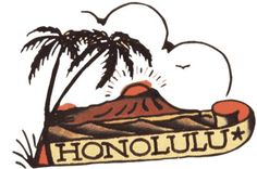 Honolulu - Vulture Graffix - Printed T shirts from $9.35US plus postage. Sailor Jerry,Tattoo Flash | Mail Order T Shirt, #Psychobilly #Rockabilly #ink #flash #tattoo #Vintage Tattoo Designs #TShirt #Sailor Jerry #Retro #Clothes