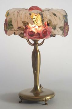 Puffy Lamp | 3226: Pairpoint Puffy Lamp Reverse-painted glass and br : Lot 3226 Art Nouveau Interior, Reverse Painted Glass, Lamp, Chandelier Lamp, Beautiful Lamp, Porcelain Lamp, Vintage Art Glass, Reverse Painted, Yellow Lamp