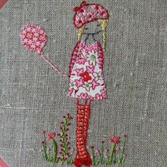 daisy girl with a balloon embroidered hoop art. Embroidery ideas- something I'd like to take up. Embroidery Art, Embroidery Applique, Cross Stitch Embroidery, Embroidery Patterns, Machine Embroidery, Bordados E Cia, Daisy Girl, Fabric Art, Sewing Crafts