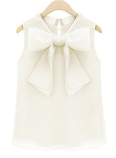Beige Sleeveless Bow Organza Blouse pictures