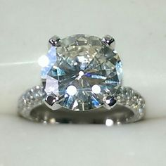 5.70 carat diamond engagement ring set in 14k white gold