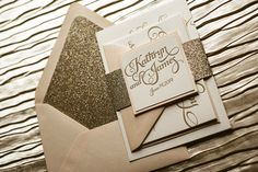 Blush & Gold Wedding Invitation, Gold Glitter Wedding Invite, Calligraphy Invitation, Gold Invitation - Sample Set by FlairNecessities on Etsy https://www.etsy.com/listing/177421203/blush-gold-wedding-invitation-gold