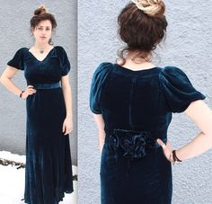 Gorgeous vintage early 1930s deep royal blue silk velvet gown! So elegantly regal! Velvet floral cluster at small of back with loose belt accent. Stunning sultry cut! Perfect for a special occasion or decadent night out! MEASUREMENTS:  Fits like a Small  Bust: 34 Waist: 32 (belt to cinch) Hips: 40 Shoulders: 15 Sleeves: 11 Length: 54.5  CONDITION:  Good vintage condition - theres one hole at the hem of the dress near the back, and a few of the snap buttons are coming ...