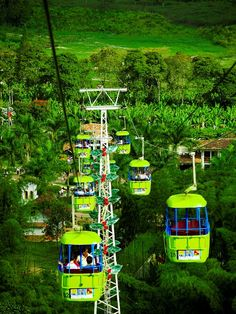 Colombia: The Coffee Park~~~~The park is located in coffee Montenegro (Quindio), has many gardens, a roller coaster with more attractions for children, and those who like to know the Nature of coffee, with a guide showing the route of manufacture there is also a cable car, (see Pic) and it is certainly a good idea for families who like to share the outdoors.