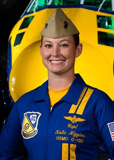 First Female Blue Angels Pilot To Perform At OCMD Air Show Maryland. Marines Captain Katie Higgins is the first woman Blue Angels pilot in history, a responsibility she doesn't take lightly, considering she's a third generation aviator. Female Marines, Female Pilot, Female Soldier, Female Fighter, Fighter Pilot, Fighter Jets, F22 Raptor, C 130, Military Women