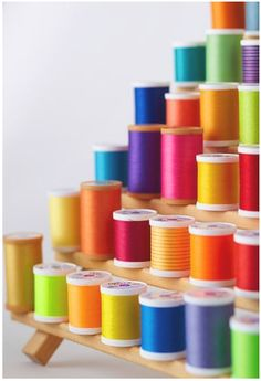 From my sewing days when I was young -- rainbow colors in spools of thread
