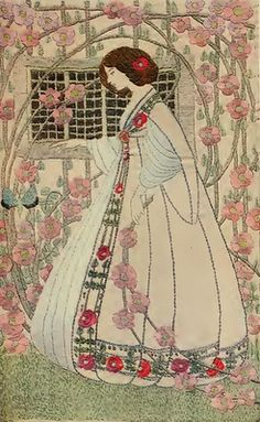 Helen Adelaide Lamb. Embroidered panel, c1909. She was part of the Scottish embroidery revival of the very early twentieth century with a group of embroiderers like Ann Macbeth and Jessie Newbery.