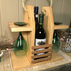 Rustic Wine Caddy Wine Carrier Wine Tote. Two by CraftsbyDerek