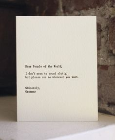 A letter from Grammar