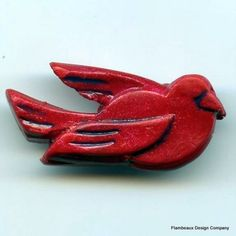 Red Bird Pin by Flambeaux on Etsy, $12.00  http://www.etsy.com/listing/12147223/red-bird-pin?ref=v1_other_2
