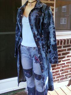 Long Faded Denim Jacket Ladies Denim Jacket by DimensionalVision, $39.99