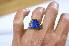 Athena 925 Silver and 18k Gold Ring, Lapis Lazuli Handmade Ring, Ancient Greek Mythology Jewelry, Unique Ring for Women, Gift for her Gold And Silver Rings, 925 Silver, Golden Ring, Greek Mythology, Ancient Greek, Bracelet Sizes, Unique Rings, Stone Rings, Lapis Lazuli