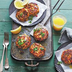 Gulf Crab Cakes with Lemon Butter - For these plump Coastal Texas treats, make sure to handle the delicate mixture carefully; the chilling process helps the cakes hold their shape during cooking. Seafood Dinner, Fresh Seafood, Fish And Seafood, Crab Cake Recipes, Seafood Recipes, Cooking Recipes, Shellfish Recipes, Cooking Crab, Cajun Recipes
