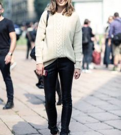 Sweater, leather pants