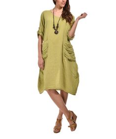 Green Front Pocket Midi Linen Dress - Plus Too #zulily #zulilyfinds. Love the ruched pocket detail
