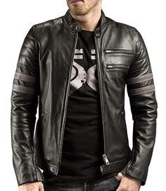 New Men's Leather Jacket Motorcycle Real Lambskin Leather Coat - M10 #Handmade…