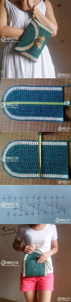 Crochet Clutch / Purse / Bag                                                                                                                                                                                 bolso de mano verde