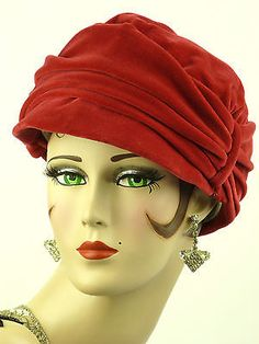 VINTAGE HAT 1950s FRENCH, BEAUTIFUL LADIES CHERRY RED VELVET HAUTE MODE SUZANNE