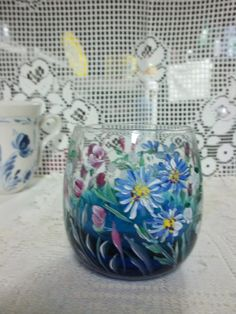 Blue Glass Roly Poly Drinking Glass Hand Painted by FolkArtByNancy, $12.00