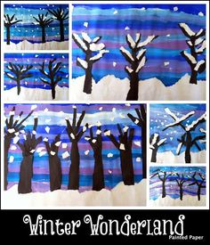 winter bulletin boards | We have been busy creating various winter scenes in our art classroom.