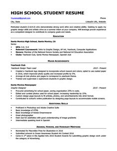 Resume Examples For High School Students Resumeexamples