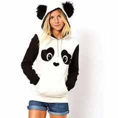 Coole & süße Baumwolle Sweatshirt Weste mit Kapuze in Figur von Panda