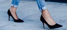 Pantofi stiletto negri din piele întoarsă Black stiletto shoes