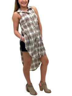 578f6837b70b9 Steezyer Beige Sleeveless Plaid Shirt SB13044Beige