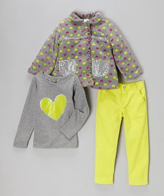 Look at this #zulilyfind! Gray & Neon Yellow Heart Jacket Set - Infant #zulilyfinds