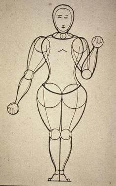 "ca. 1921--German--Oskar Schlemmer--means of transforming the human body by the use of costume--the functional laws of the human body in their relationship to space. Result: ""the marionette."" From ""Man and Art Figure."""