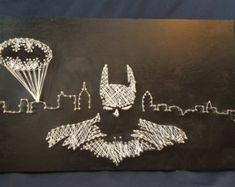 Batman String Art #BatmanStringArt #Batman #StringArt #NailArt #GothamCity #Superhero #DCComics #Handmade #MadeInMichigan #WoodSign