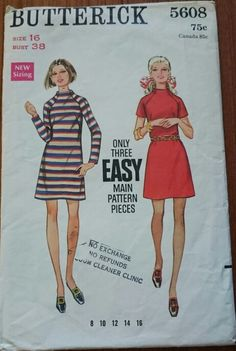 3621768af1b Vintage Butterick Pattern 5608 Dress Size 12 Easy One Piece Dress