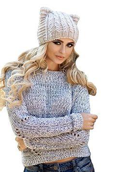 98759746429b Beige Cat Ear Hat Wool Winter Womens Pussy Hat Beanie Lined With fleeceCat  HatBeige --