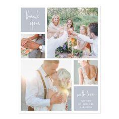 Fog Grey Collage | Wedding Photo Thank You Postcard - elegant gifts classic stylish gift idea diy style