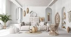 Nomadic style interiors with an ethnic rustic mix. White and wood decor filled with cane furniture, rustic mirrors, Macramé wall hangings, and wicker baskets. Miffy Lampe, Modern Wall Sconces, Rustic Mirrors, Copper Table Lamp, Casas Containers, White Countertops, Modern Staircase, Contemporary Sofa, Vases Decor