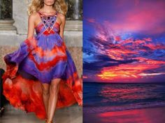 """These Amazing Photos Prove How Fashion And Nature Are Interconnected Emilio Pucci S/S 2015 and Maldives, sunset """"The Sunny Side of Life"""".Images Sourced From Liliya Hudyakova Fashion Art, Fashion Beauty, Fashion Show, Fashion Outfits, Fashion Women, Fashion Textiles, Big Fashion, Fashion Styles, Beautiful Dresses"""